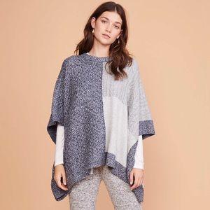 🆕 NWT LOFT Lou & Gray Patchwork Poncho Sweater